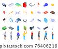 Excursion icons set, isometric style 76406219