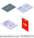 Passport icons set, isometric style 76406254