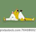 Bad relationship. Psychological issues. Young people with bad mood sitting back to back. Pair in a fight. Couple of young persons after quarrel or conflict. 76408602