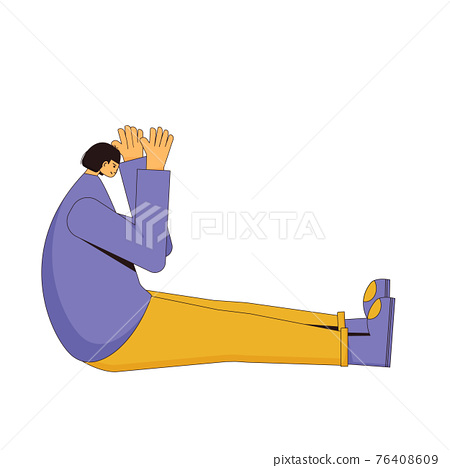 Depression girl. Vector hand drawn color person. 76408609