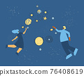 Woman and man in virtual reality glasses see space. Female and male characters in vr headset with touching vr interface. Two persons using technology concept. Vector illustration. 76408619