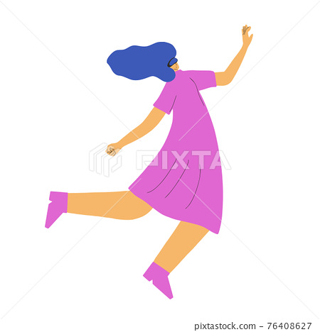 Woman with vr glasses. Vector virtual reality set 76408627