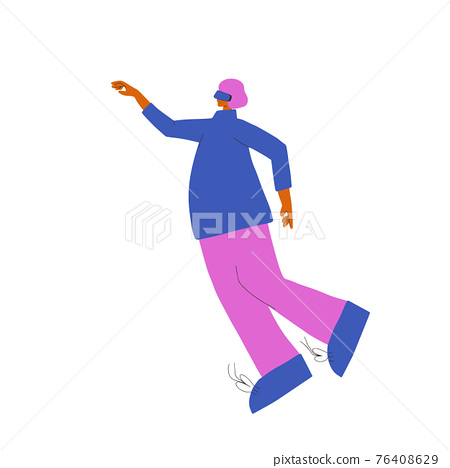 Man with vr glasses. Vector virtual reality set 76408629