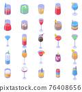 Cocktail icons set, isometric style 76408656