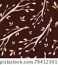 Pattern of watercolor autumn leaves branches, oak, maple, birch, rowan, ash. Golden fall trees landscape. Yellow leaf background 76412301