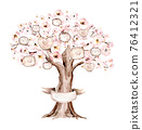 Watercolor Genealogical blossom cherry Family tree. Watercolor children's tree botanical season isolated illustration. Green forest ecology branch and leaves. 76412321