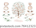 Watercolor Genealogical Family tree. Watercolor children's tree botanical season isolated illustration. olive, oak and cypress. Green forest ecology branch and leaves. 76412323