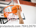 Sportman throwing a ball into the basket 76412670