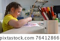 Child girl drawing a rainbow. child artist draws at the table in kindergarten. coronavirus indoor stay home pandemic concept. kid draws a rainbow. school kindergarten drawing lesson 76412866