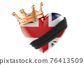Mourning in the United Kingdom concept. British heart with black ribbon and golden crown. 3D rendering 76413509