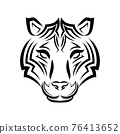 Line art vector of tiger head. Suitable for use as decoration or logo. 76413652