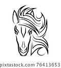 Line art vector of horse head. Suitable for use as decoration or logo. 76413653