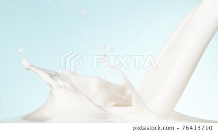 Splash of milk on a soft blue background 76413710