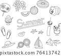 簡單的夏季材料插圖集(單色) 76413742