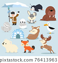 Cute Arctic  flat design Cartoon characters  set 76413963