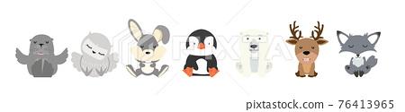 Cute animal Arctic Cartoon characters  set 76413965