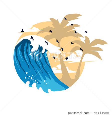 Summer Waves Background Flat Design logo 76413966