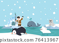 North pole arctic flat design background 76413967