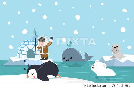 North pole arctic flat design background 76413967