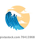 Summer Waves Background Flat Design 76413968