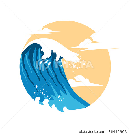 Summer Waves Background Flat Design 76413968