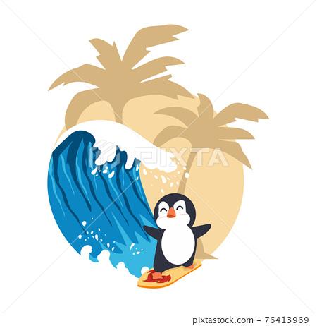 Cute penguin surfing big wave 76413969