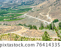 Landscape with orchard farms at Okanagan lake on hot summer day 76414335