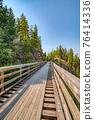 Bike trail over old railroad bridge over Myra canyon in Okanagan valley 76414336