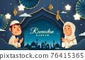 Ramadan Kareem classic blue Islamic festival background with Muslim prayer at Mosque window and islamic decorations. 76415365