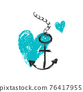 Vector illustration. Blue hearts with an anchor. Love 76417955