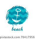Vector Illustration. Template card with grunge anchor and text beach 76417956