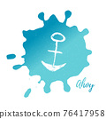 Vector Illustration. Template card with grunge anchor and text Ahoy 76417958