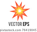 Vector cartoon-styled red, yellow fiery burst collision star icon 76419045