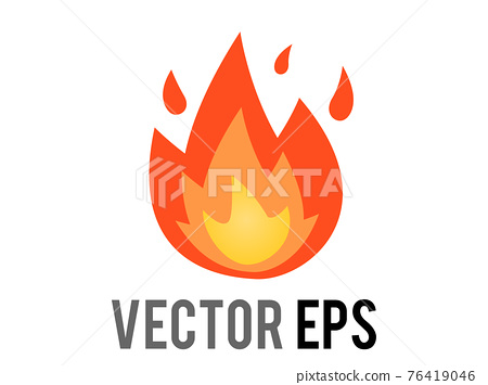 Vector cartoon-styled depicted as red, orange, yellow flickering flame fire icon 76419046