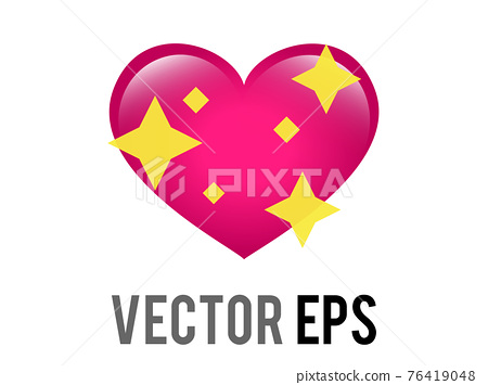 Vector glossy pink love heart icon with sparkling stars, used for expressions of shimmering 76419048
