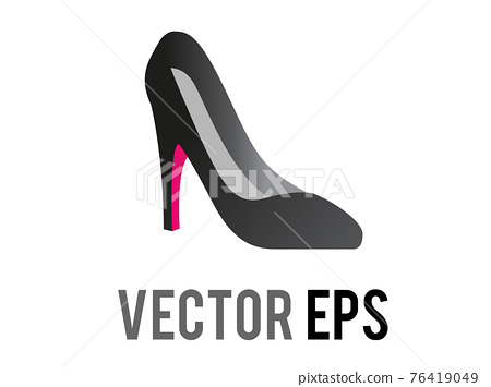 Vector black and red fashionable formal high heeled shoe icon for social occasions, events or work places 76419049