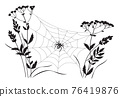 Monochrome Big Spider on Web 76419876