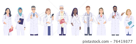 Diverse People, Medical Workers Male and Female Characters. 76419877