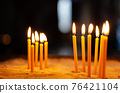 burning candles during a ceremony in a church 76421104