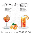 Hand Drawn Colorful Orange Spritz and Tequila Sunrise Cocktail Drink Ingredients Recipe 76431266