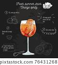 Hand drawn colorful fresh summer drink Orange aperitif recipe on blackboard 76431268