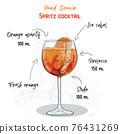 Hand Drawn Colorful Aperol Spritz Summer Cocktail Drink Ingredients Handwritten Recipe  76431269