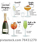 Hand Drawn Colorful Summer Champagne Cocktail Drink Set French 75 Pornstar Martini Spritz and Death in the Afternoon. 76431270