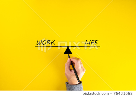 Work and life balance concept, hand sketching on yellow background 76431668