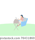 Young woman working with a laptop on table illustration vector. Work from home concept. 76431860