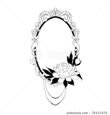 Vintage baroque frame. Decorative element black and white 76432978
