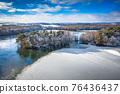 Aerial landscape of the frozen lake in Poland at winter 76436437