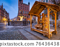 Christmas wooden nativity scene in the old town of Gdansk at dawn, Poland. 76436438