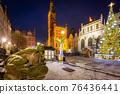 Christmas tree and decorations in the old town of Gdansk at dawn, Poland 76436441