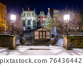 The Artus Court and fountain of the Neptune  with christmas tree, Gdansk. Poland 76436442
